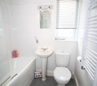Modern white bathroom in plymouth university student property.