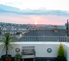Sunset from the rooftop terrace in plymouth universitys student property.