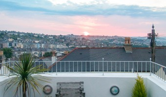 Beautiful sunset from rooftop plymouth university student property terrace.