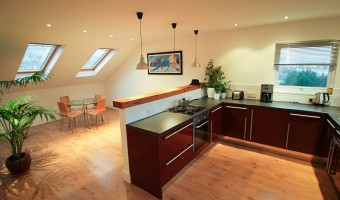 Open plan plymouth university accommodation flat conversion kitchen.
